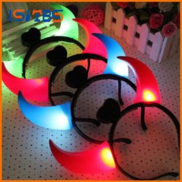 Wholesale Light Up Clothes - Led Clothes Led Headband Issuing Bar Gathering Light Headgear Luminous Horn Hairpin Up Toys Party Decoration Supplies