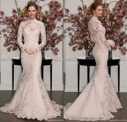 Wholesale Strapless Chapel High Neck Train - 2017 Full Lace Trumpet Wedding Dress Illusion High Neck Long Sleeve Strapless Sweetheart Vintage Designer Bridal Gowns Custom Made