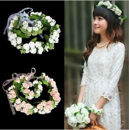 Wholesale Wrist Flower Garlands - Wedding Bridal Girls Wreath Flower Floral Crown for Women Kids Head Rose Tiara Garland With Wrist Flower (Head +Wrist Flowers) 1 Set