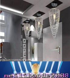 Wholesale Crystal Chrome Ceiling Lights - LED 1-light Chrome K9 Modern crystal chandelier lighting D17*H45cm 110V-256V Transparent color Crystal Ceiling Light For Living Room MYY168
