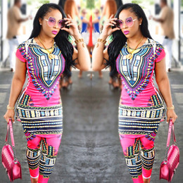 Wholesale Design Java - 2017 New Arrival African Dashiki Clothing Fashion Design Suits Java Wax Print FabricTop and Pants Women Suits 2 Pieces Set Vintage tracksuit