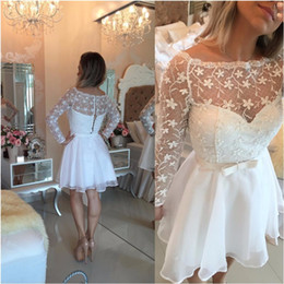 Wholesale Summer Dresse - 2017 New Vestido Formatura Curto Homecoming Dresses Little White Cheap Off Shoulders Illusion Long Sleeves Pearls Bow Belt Short Prom Dresse
