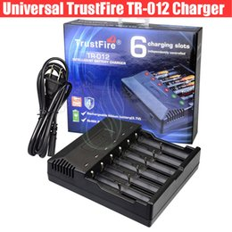 Wholesale Rechargeable Intelligent - Original Trustfire TR-012 Intelligent Charger 6 Slots TR012 LED Digital 18650 18500 18350 16340 Lithium Battery Rechargeable Charging DHL
