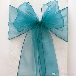 Wholesale Teal Blue Organza Chair Sashes - 50pcs lot Teal Blue Organza Crystal Chair Sashes Sample Fabric Roll wedding Sash Bow Gift Party SASH