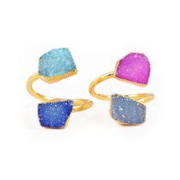 Wholesale Gold Drusy Ring - New! Party Jewelry Golden Drusy Ring Shining 24K Gold Plated Two Stones Polygon Agate Geode Druzy Ring Quartz Druzy Jewelry G139