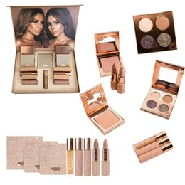 Wholesale Eyeshadow Lipgloss Palette - New Makeup Set Dose of colors Desi X Katy Set THE GIRLS eyeshadow palette from the Collection 4color eyeshadow highlighter Lipstick Lipgloss