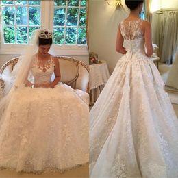 Wholesale Fancy Caps - Fancy Lace Wedding Dresses Vintage A Line Wedding Dress 2016 Hot Sale Wedding Dresses Robe De Mariage