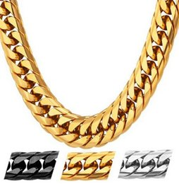 Wholesale Cool Stamps - American Style Hip Hop Heavy Cool Men's Chain 13MM 28'' 18K Stamp Gold Plated Big Long Chunky Necklace Men Kpop Jewelry
