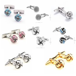 Wholesale Copper Cufflinks - Free shipping Metal Knot Cufflinks gold color knot design hot sale copper material cufflinks wholesale&retail 9888