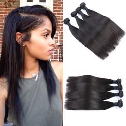 Wholesale Cheap Virgin Russian Hair - Cheap Brazilian Straight Human Hair Weaves 8-30inch Virgin Hair Extensions Natural Black G-EASY Hair