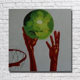 Wholesale Art Abstract Fruit - Free shipping wall art painting modern fruit basketball oil paintng hand painted abstract canvas oil painting