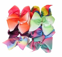Wholesale Color Barrettes Wholesale - 8 inch JoJo Siwa Rhinestone Hair Bows Rainbow Hairpin Rainbow Ribs Bows with Clip Barrettes for Baby and Girl Gifts
