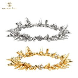 Wholesale Spiked Wristbands - 2016 New hot gold&silver spike bracelet women stretch size wristband christmas gift brand jewelry style items