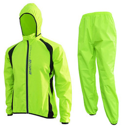 Wholesale Cycling Jersey Outdoor - Wholesale-Breathable Windproof Cycling Jacket Jersey Reflective MTB Bike Rain Coat Pants  Waterproof Outdoor Clothes Bicycle Raincoat Set