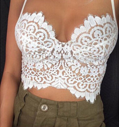 Wholesale Lace Crochet Tube Top - Wholesale-Sexy Bra Lace Tube Top Camisa Feminina Plus Size Crop Top Lace Bralette Crochet Hollow Tops Women's Short Camisole Bandeau Tops