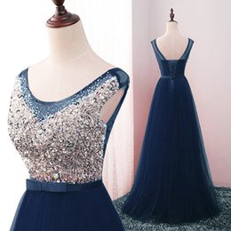 Wholesale Elegant One Shoulder Dress - 2017 Sexy Sequines Crystals Prom Dresses Lace Up Formal Dresses New Backless Long Tulle Prom Dresses Sequined Elegant Party Dress