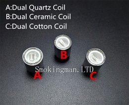 Wholesale Globe Coil - Newest wax coils Dual Quartz Coils Dual Ceramic Rod Coils for Cannon Vase Atomizer Glass Globe Atomizer VS Skillet v2 quartz atomizer