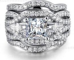 Wholesale Ladies Gold Diamond Ring - VVS1 LAD DIAMOND RING BAND SET 6.1 CT HALO LADIES 18K WHITE GOLD PLATED