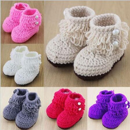 Wholesale Cute White Booties - Retail Newborn Toddler Crochet Shoes Infant Snow Booties Baby Cute Handmade Boots Free Shipping new hight