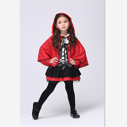 Wholesale Red Ribbon Costumes - Halloween Christmas Children Little Red Riding Hood Cosplay Red Cloak Kids Dot Ribbon Bowknot Costume Girls Lace Dance Dress