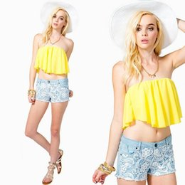 Wholesale Yellow Crop Tube Top - Wholesale-New Strapless Tube Top Fashion Sexy Backless Yellow Corset Plus Size S-xl Crop Top Wrapped Chest Free Shipping