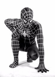 Wholesale adult spider man costumes - High quality black spiderman costume spider-man suit adult spider-man spider-man costume for Cosplay costume, free shipping