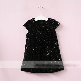 Wholesale Korean Dress Fashion Black Color - Everweekend Girls Sequins Ruffles Dress Sweet Baby Black Color Clothes Princess Western Korean Fashion Autumn Party Clothing