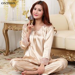 Wholesale Womens Pajamas Silk Set - Wholesale- Long Sleeve Womens Pajama Sets For Ladies Silk Satin Lace Pajamas Sleepwear Round Neck Sleep Tops and Bottoms S2