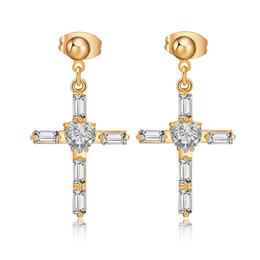 Wholesale Valentine Stud - New Fashion American and European Hot Selling Austria Sparky Clear CZ Cross Earrings Stud Cross Style Women Earrings Studs for Valentine Day