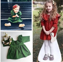 Wholesale Old Fashioned Baby Girl Dresses - 2016 2-7 year-old girl dresses scallops baby fashion banquet dresses spring & autumn children dance clothes cheap 5pcs A11