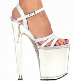 Wholesale White Open Back Briefs - Sexy 20cm brief high-heeled shoes platform open toe sandals the bride wedding shoes Spike Heel Open 8 Inch white Sandals