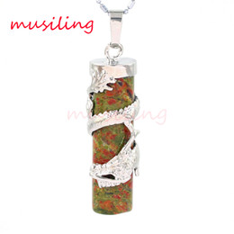 Wholesale Post Links - Pendants Necklace Chain Dragon Post Silver Plated Natural Stone Unakite Opal etc Stone Pendulum Accessories Women Mens Jewelry