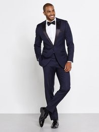 Wholesale Slim Groom - 2016 Men Navy Tuxedos Two Piece Suits One Button Peak Lapel Satin Custom Made Wedding Groom Slim Suits High Quality