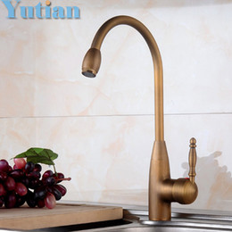 Wholesale Antique Ship Sinks - Wholesale- Free shipping Kitchen Faucet Antique Brass Swivel Bathroom Basin Sink Mixer Tap Crane,torneira YT-6042