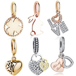 Wholesale Gold Rabbit - BELAWANG Rose Gold Cubic Zirconia Pendant 925 Sterling Silver Clover&Rabbit&Heart Shape Charm Beads Fits Pandora Bracelets&Necklaces Jewelry