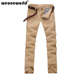 Wholesale Korean Pants For Men - Wholesale-WEONEWORLD Hot Sale 2016 New Fashion Mens Pants Korean Causal Candy Solid Pants For Male Plus Size 30-36 Free Shipping