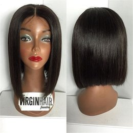 Wholesale 12 13 Wig - 6A Brazilian Hair 13% Density Lace Front Wigs Straight Short Wigs For Black Women Natural Color Short Lace Front Wigs