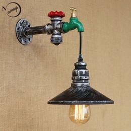Interruttori lampada tubi online-Retro interruttore di tocco di ferro Lampada da parete loft vintage tubo di acqua con edison / luci a led lampadina per bar sala da pranzo camera da letto soggiorno bar