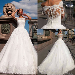 Wholesale See Through White Dresses - Vestido De Novia 2016 Vintage Lace Wedding Dresses Sexy Off The Shoulder Short Sleeves Aplliques See Through Back Robe De Mariage Gowns