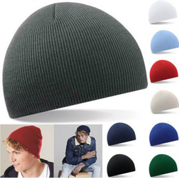 Wholesale Pinstripe Hats - Autumn winter woman warm hats pinstripe short style Hip Hop Beanies man hat Knitted peas caps snow Ski Cap Skullies Gorros