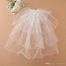 Wholesale Tulle Bow Veil - Cheap Multi Layer Real Image White Pageant Veil For Girls 2016 Flower Girl Veils For Weddings Cute Beaded Princess In Stock Veil With Bow