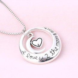 """Wholesale Circle Chains - 2017 4Styles Circle Moon Heart I Love You To The Moon and Back 24"""" Pendant Necklaces"""