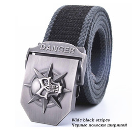 Wholesale Cool Weave - Fashion men's Canvas belt skull Metal tactics woven belt canvas belt Casual pants Cool wild gift for men belts Skull large size