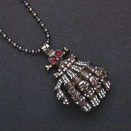 Wholesale Bone Inlay - Fashion Exaggerated Hip Hop Jewelry Men Black Hand Bone Design Alloy Pendant Inlaid Diamond Skeleton Necklace Halloween