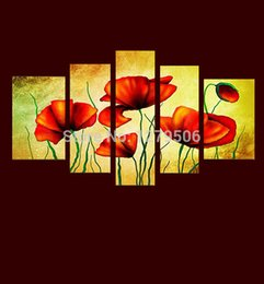 Wholesale Set Painting Wall Orange - 5 Pcs set 100% Hand-painted Orange Flower Art Decoration Oil Painting On Canvas Wall Pictures For Living Room