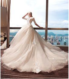 Wholesale Lace Key Back Wedding Dress - half sleeves ball gown wedding dresses 2018 jewel neckline key hole lace-up back chapel train bridal wedding gowns