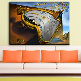 Wholesale Modern Floral Art Paintings - ZZ1847 modern abstract canvas art Melting Watch, 1954 by Salvador Dali canvas pictures oil art painting for livingroom bedroom