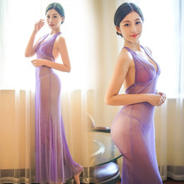 Wholesale Long Sexy Nighties - Wholesale- Sexy Ankle-Length Nightgowns With G-String Thongs Long Sleepdress Nightclue Spaghetti Strap Nightie Pearl Night Party Dress