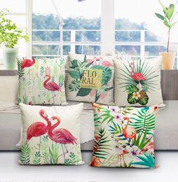 Wholesale Christmas Pillow Cases - Flamingo Throw Pillow Cover Cases Cushoin Cover Linen Pillowcase Sofa Bed Decorative Pillow Covers Christmas Gift 40*40cm KKA3001