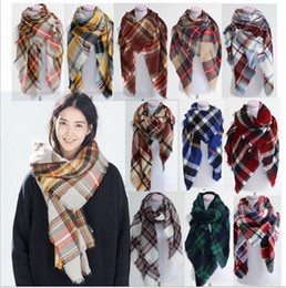 Wholesale Warmest Blanket Luxury - Women Winter Scarf Luxury Brand Women Warm Scarf Blanket Oversized Plaid Cashmere Scarf Women Pashmina Triangle bandage 20pcs By dhl